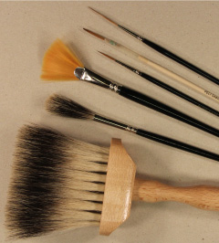 contour/grisaille glass painting brushes